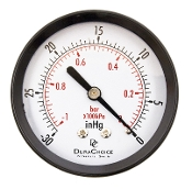 "Vacuum Gauge 0-30"")1/4"" Mip-2"" Face, Bottom/Back Mount (Plastic)"
